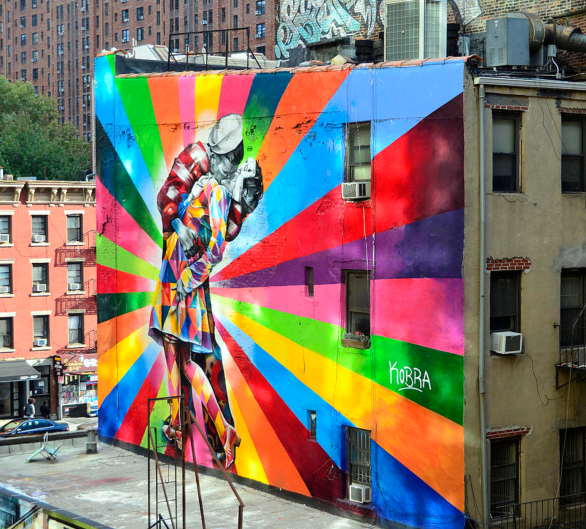 V - J Day Mural By Eduardo Kobra